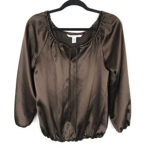 Diane Von Furstenberg Brown Silk Peasant Blouse 8